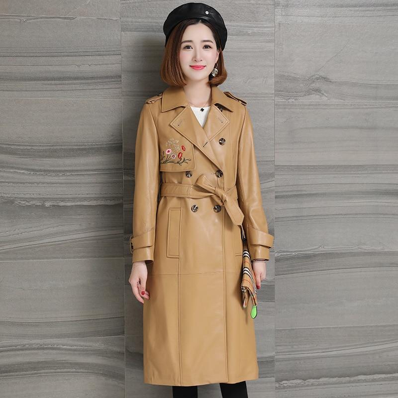 Autumn Winter  Sheepskin Women's Long Windbreaker Coat Embroidered Thin Leather Jacket Genuine Leather Fashion Coats with Sashes