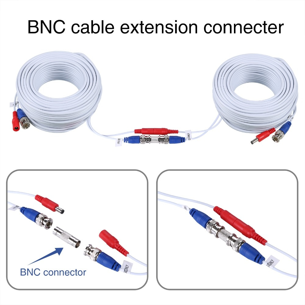 2PCS 50M 164 Feet BNC Video Power Cable For CCTV Camera DVR Security System 1 to 4 Port Power Splitter Cable 4 PCS BNC Connector enlarge