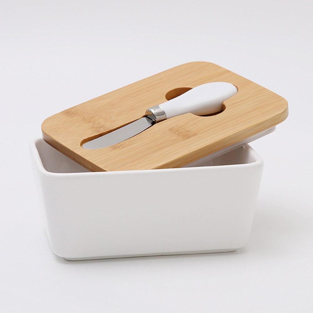 Герметизирующий Кухонный Контейнер для сыра и масла с деревянной крышкой посуда