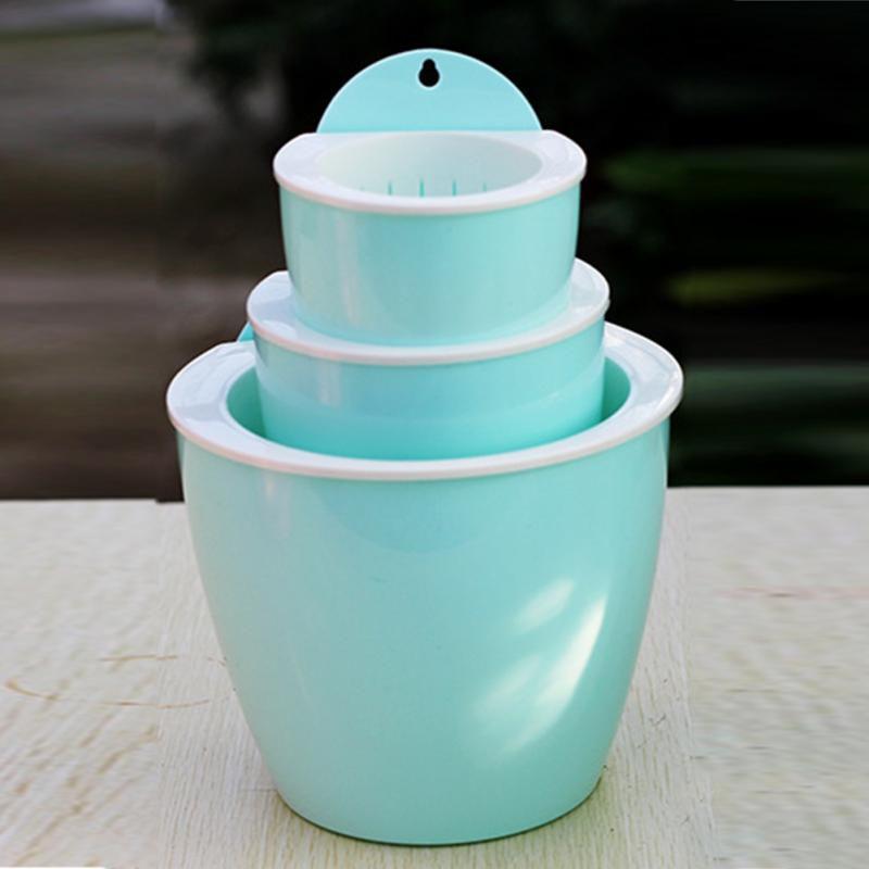 Plant Small Flower Pot Plastic Round Mini Color Flower Pot Home Office Decoration Decoration Creative Wall Hanging Flower Pot