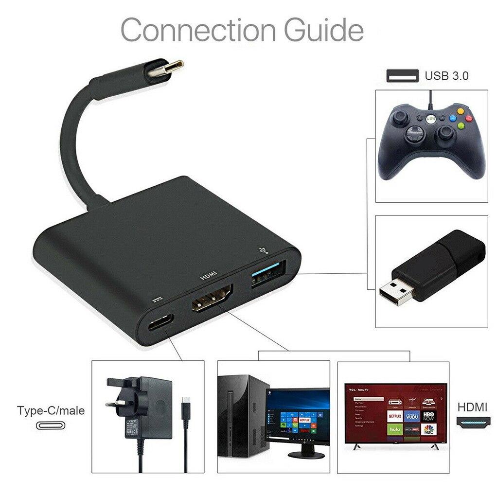 Convertidor de Audio y vídeo tipo C HDMI, compatible con USB 3,0,...