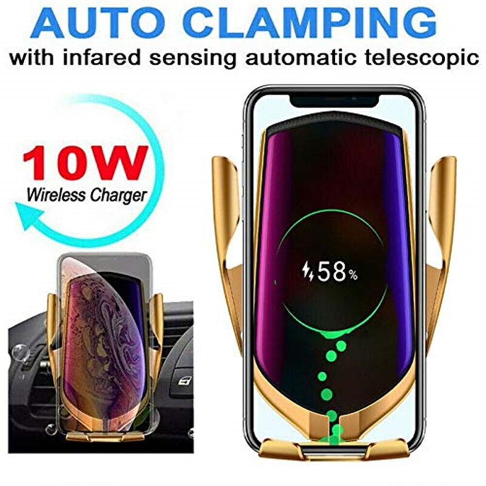 Беспроводное Автомобильное зарядное устройство, ИК интеллектуальное автоматическое зажимное автомобильное зарядное устройство, 10 Вт Бесп...