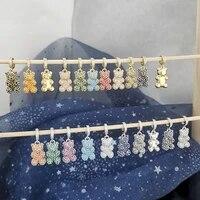 qmhje cubic zirconia bear charm pendant pearl necklace women choker cz paved diy bracelet ankel beads gold silver color white