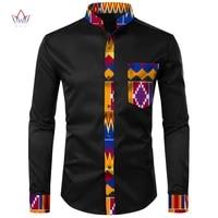 2021 men african clothing dashiki men shirt top bazin riche african men clothes cotton print patchwork top shirt wyn3137