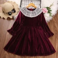 girls lolita style princess dresses autumn winter kids lace neck wine red vestidos 3 10 years children clothes party costumes