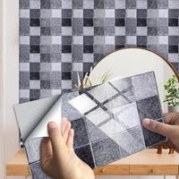 Carrelage autocollant motif marbre gris  10 pieces  dosseret de cuisine  salle de bains  decor de maison  Surface brillante  amovible  Art Mural