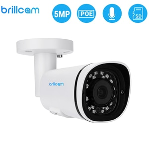 Brillcam 5MP UHD IR Bullet IP Camera with 2.8mm Len PoE IP67 Weatherproof AI SD Recording Built in Microphone Home Security