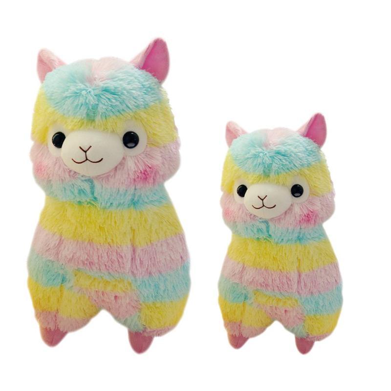 Suave algodón rayas Arco Iris Alpaca oveja de peluche relleno muñeca colgante