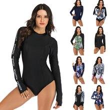 Женский купальный костюм с длинным рукавом, с принтом, на молнии, Цельный купальник, черный костюм для серфинга, купальный костюм, УФ-защита, пляжная одежда