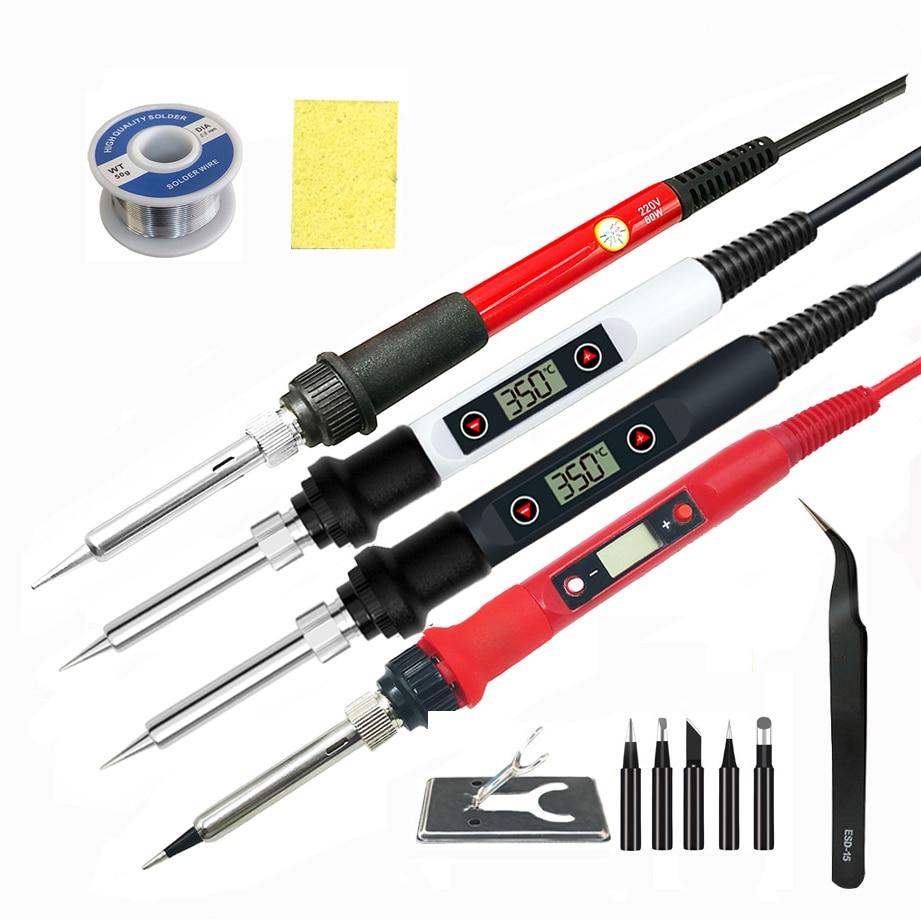 Estación de soldador digital eléctrico de 60 W / 80 W 220 V 110 V puntas de soldadura de temperatura ajustable, herramientas de soldadura, accesorios de soldadura