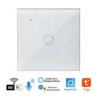 Interrupteur mural tactile WI-FI intelligent  application Tuya Smart Life  commande a distance  fonctionne avec lassistant Alexa Echo Voice Home