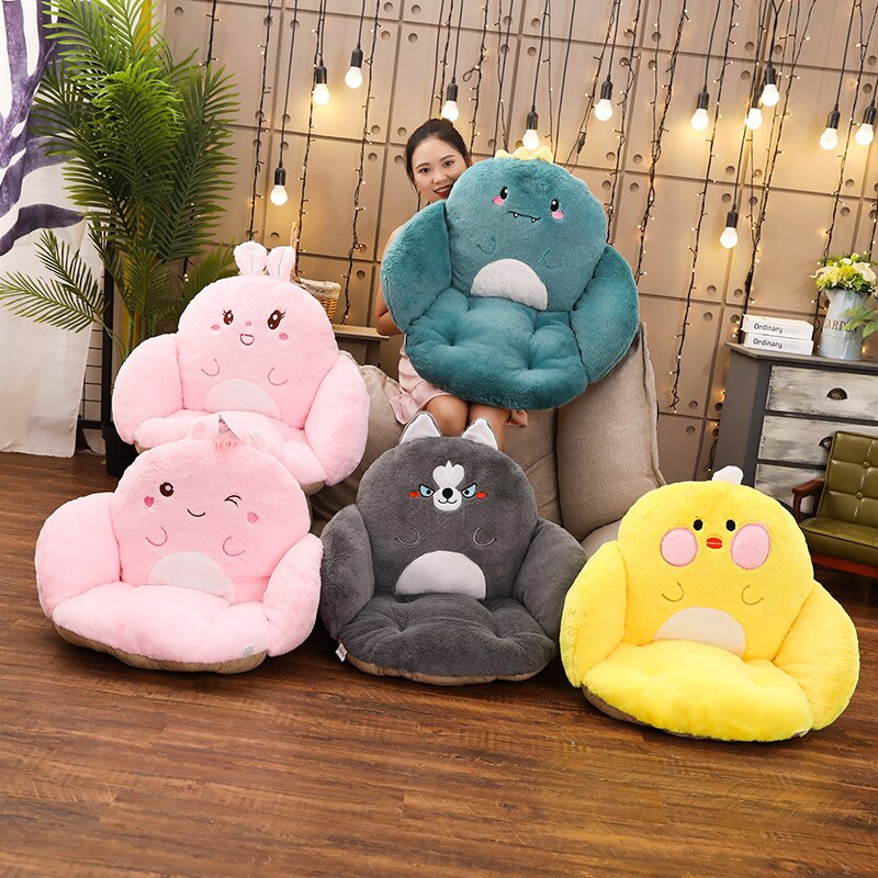 Cute Unicor Dinosaur Husky Duck Rabbit Kids Sofa with Blanket Chair Plush Animal Toy Soft Baby Nest Sleep Pillow Stuffed Cushion