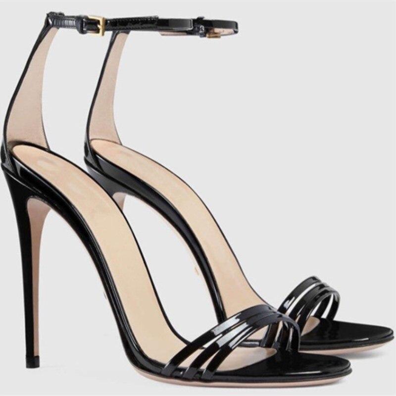 LanLoJer-حذاء نسائي بكعب عالٍ ، صندل جلدي بكعب عالٍ ، 11 سنتيمتر ، مقاس 34-45