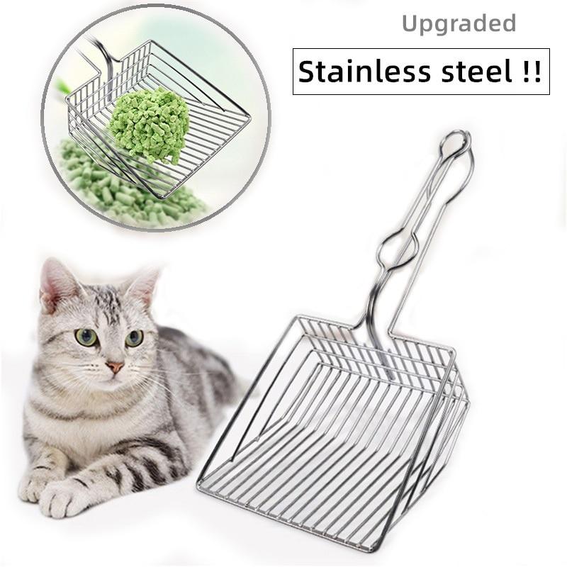 Ferro inoxidável oco gato maca pá titular gato pet cocô colher gato pá metal colher ferramentas de cuidados limpeza suprimentos mais limpo
