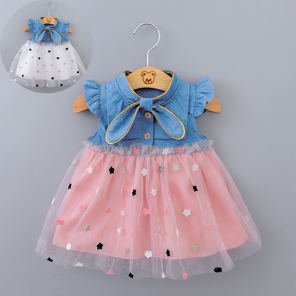 Meninas bonito vestido infantil do bebê meninas crianças vestidos de princesa gaze estrela denim roupas roupas verão crianças meninas