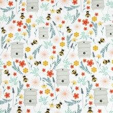half yard plain cotton fabric with little bee flower print handmade DIY garment dress cloth 100% cotton CR-242