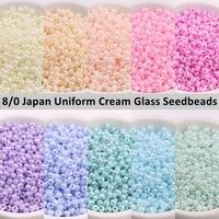 japan 3mm uniform cream glass seedbeads macaroon imitation jade beads for diy jewelry craft making garments sewing suppliers