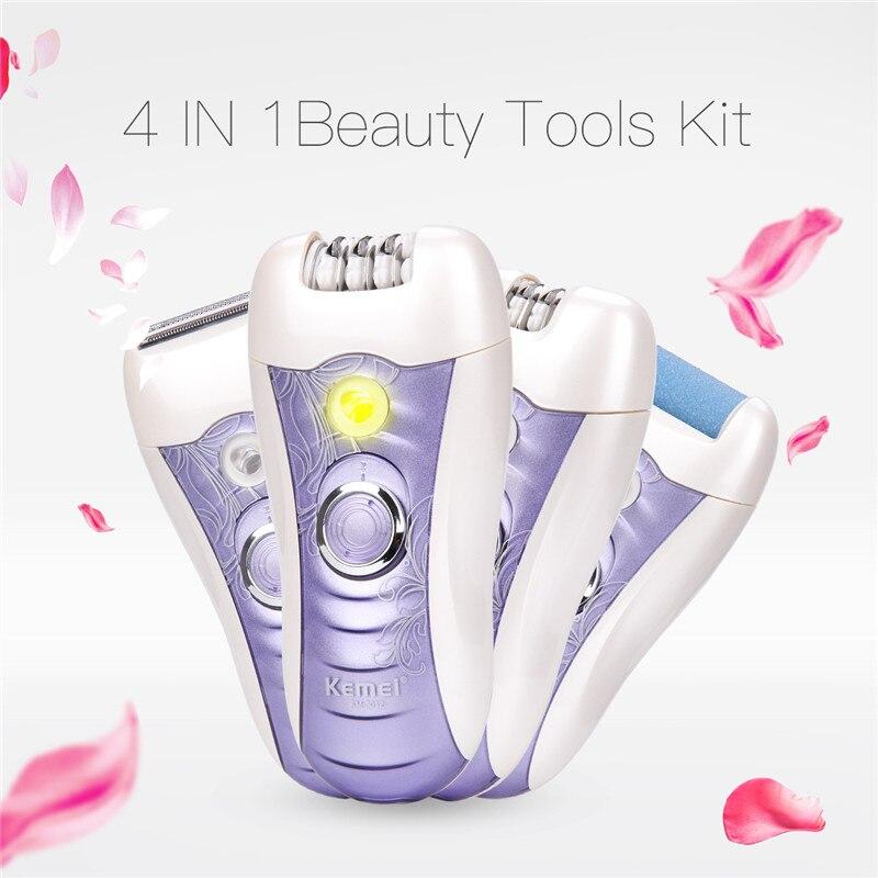 Kemei 4 en 1 depiladora recargable mujeres afeitar mujer eléctrica máquina de afeitar el pelo cuerpo Depilador recortadora de pinzas para mujer