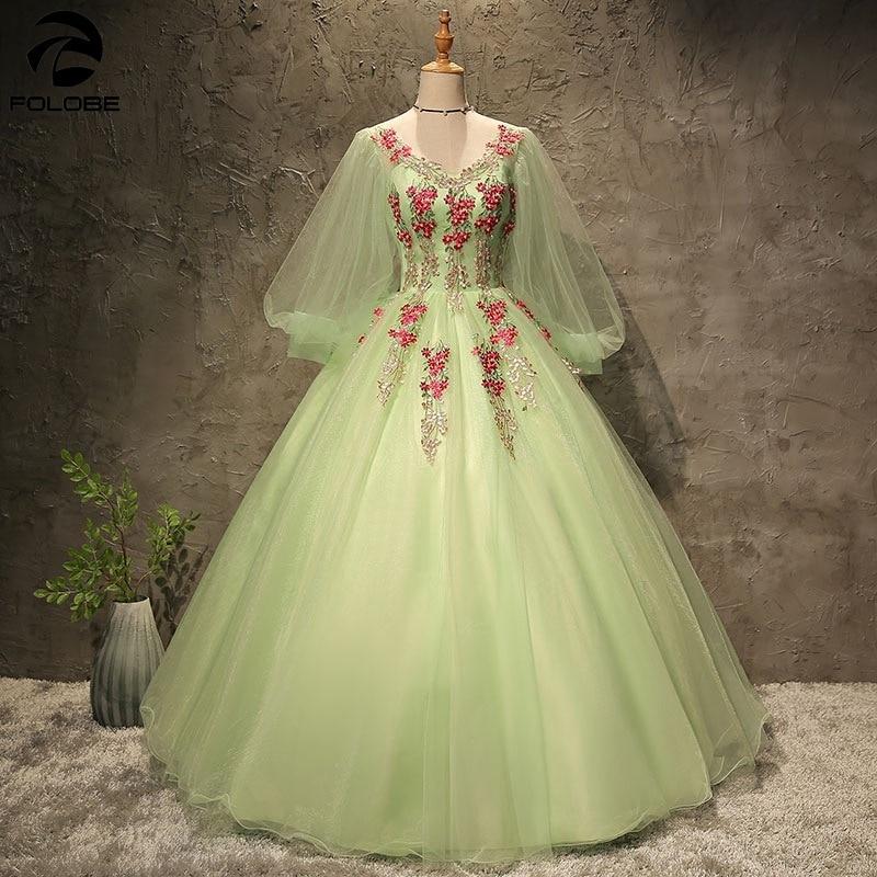 Quinceanera vestido elelgant v-neck luz verde festa de baile vestido de baile manga longa bordado quinceanera vestidos para doce 16
