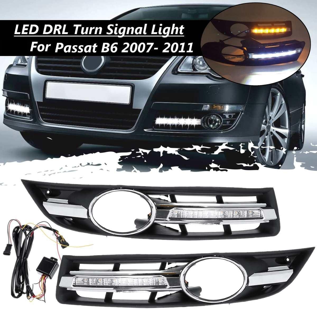 Luz LED DRL para coche, luz diurna con parrilla envolvente para VW Passat B6 2006-2011 impermeable