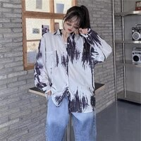 2021 spring new print shirt women blouses harajuk style loose turn down collar long sleeve button shirts ins blouse black blusas