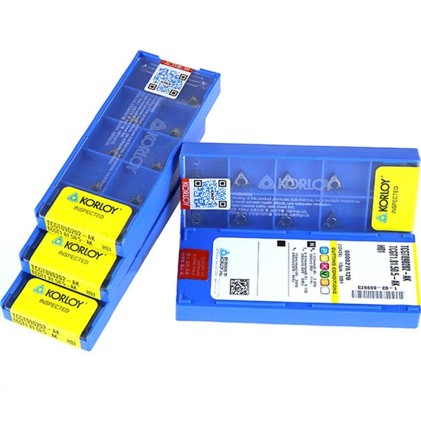 TCGT090202-AK/TCGT090204-AK/TCGT110202-AK/TCGT110204-AK/TCGT16T302-AK/TCGT16T304-AK/TCGT16T308-AK H01 carbide inserts 10PCS/BOX