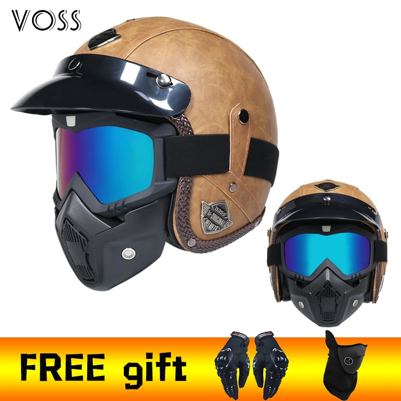2020 nuevos cascos retro de cuero PU 3/4 motocicleta Chopper bici casco abierto casco de moto vintage