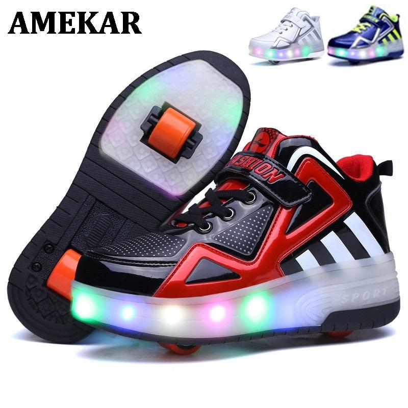 Heelies 2021 متوهجة أحذية رياضية للأطفال أحذية التزلج الأسطوانة الأطفال Led ضوء ملون حتى أحذية فتاة بوي أحذية رياضية مع عجلات Heelies