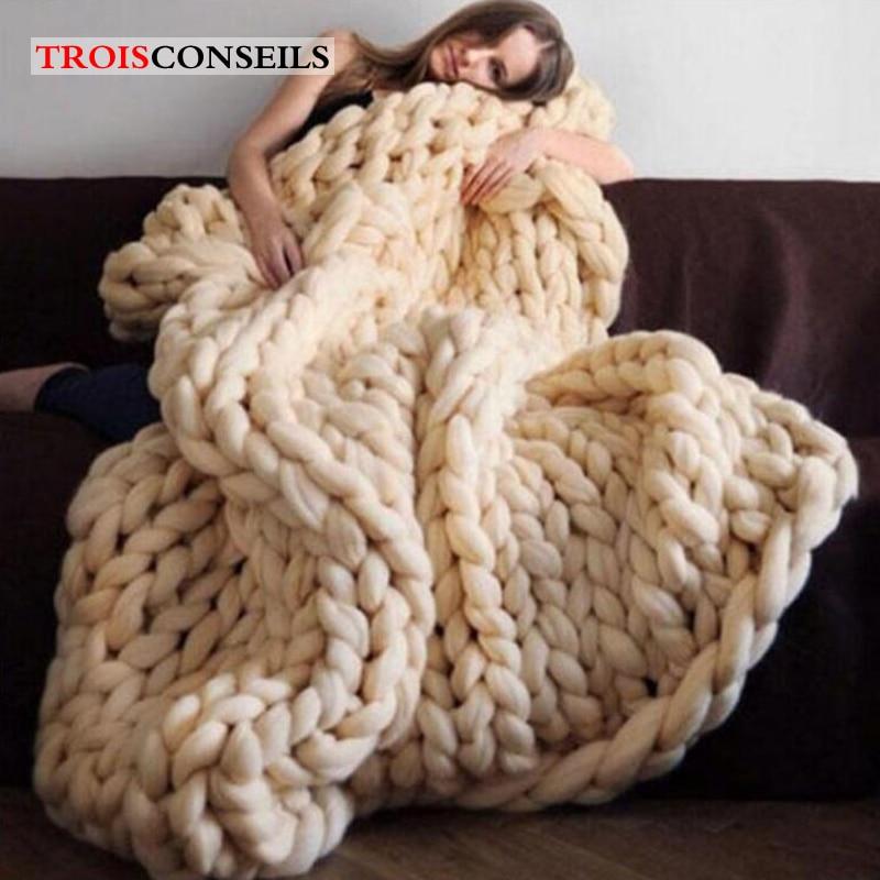 Fashion Hand Made Chunky Merino Wool Blanket Thick Big Yarn Roving Knitted Plaid Blanket Warm Throw Blanket For Sofa Plaid Cover knitting warmth flower plaid hollowed square sofa blanket