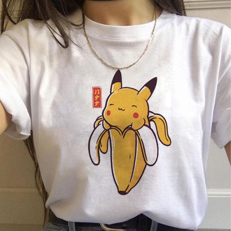 New Harajuku T-Shirts Women Kawaii Funny Cartoon pokemon short sleeves  90s Cute Vogue Print  Fashion Streetwear Top Tees Female