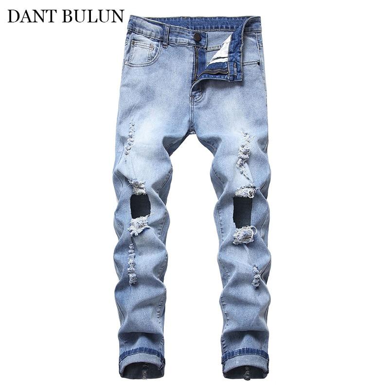 Мужские облегающие джинсы, потертые джинсовые брюки с дырками, обтягивающие рваные джинсы для мужчин, синие брюки, джинсы, уличная одежда дл...