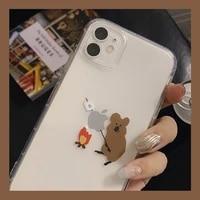 funny cute cartoon animal koala transparent phone case for iphone 11 pro max xr x xs max 7 8 plus se 2020 cases soft tpu cover