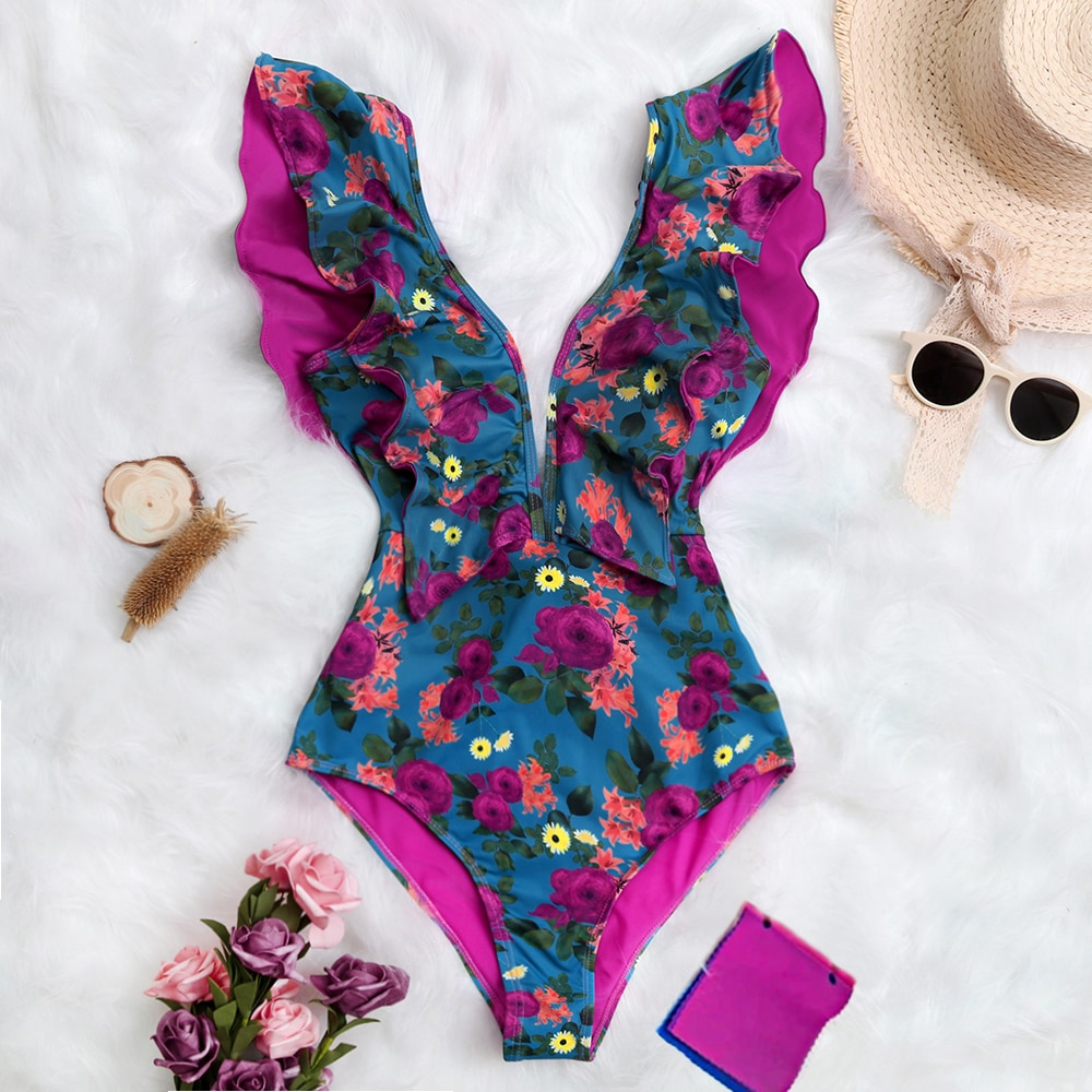 2021 New Print Swimwear Deep V-neck Ruffle Swimsuit Push Up One Piece Swimsuit Beach Wear Backless Monokini plunge neck pompom backless printed swimsuit