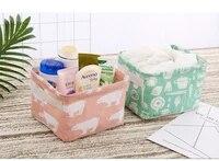 1 pc multicolor linen waterproof storage basket table top foldable storage box cosmetics sundries clothing fabric storage basket