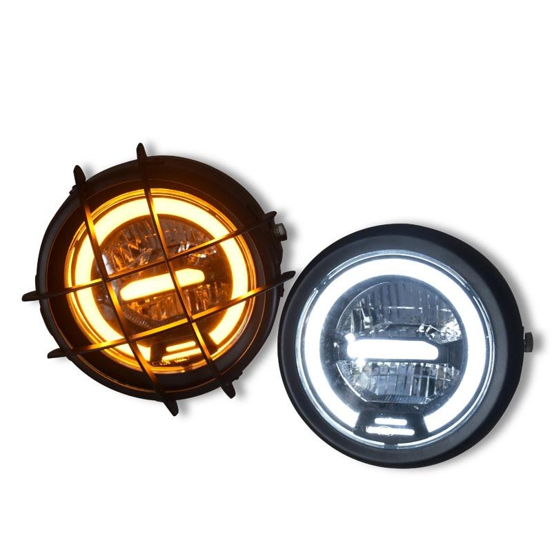 ECE E Mark ريترو للدراجات النارية تعديل العام LED 12 فولت فائقة مشرق كشافات العلوي كامل المعادن 6.5 بوصة مع شواء الحرس
