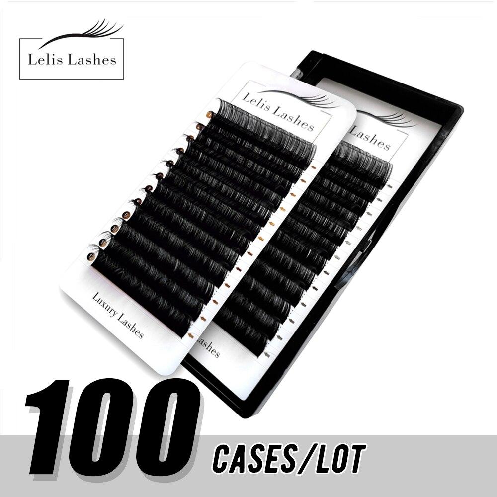 رموش ليليسجلدة فردية للمكياج 100 حافظة/مجموعة رموش مصنوعة يدويًا من المينك الطبيعي