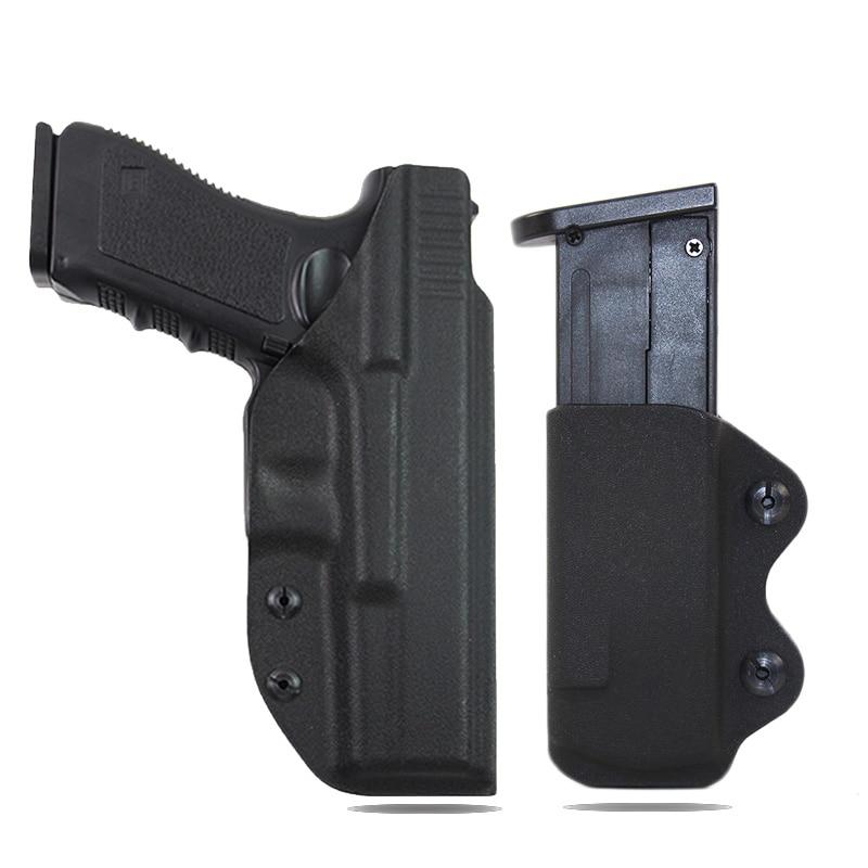 IWB Kydex Holster Pistol Airsoft Gun Holster for Glock 17 22 31 Hunting Accessories Gun Case Hidden Holster With 9mmMAG Pouch