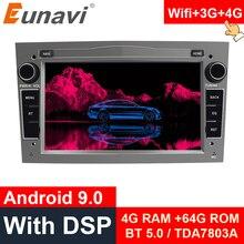 Eunavi 2 Din Android 10 autoradio GPS pour Opel Vauxhall Astra H G J Vectra Antara Zafira Corsa Vivaro Meriva Veda 4G USB sans DVD