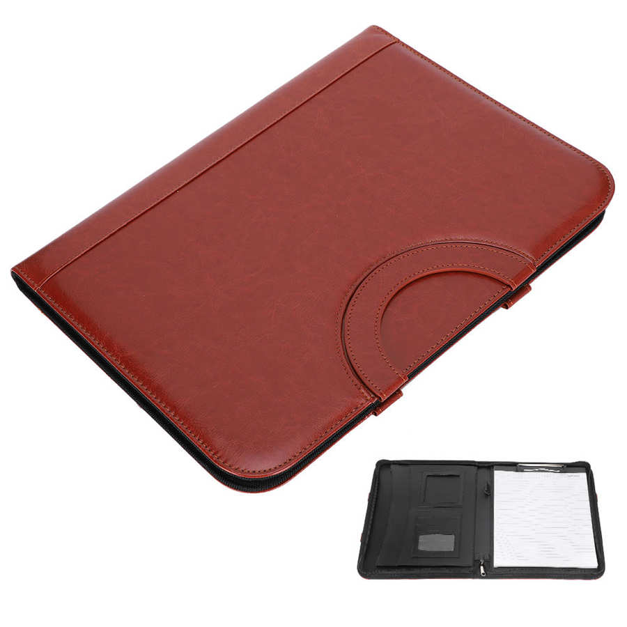 Multifuncional A4 Padfolio Carpeta de piel PU A4 negocios multifuncional portátil gerente bolsa de cremallera carpeta de almacenamiento