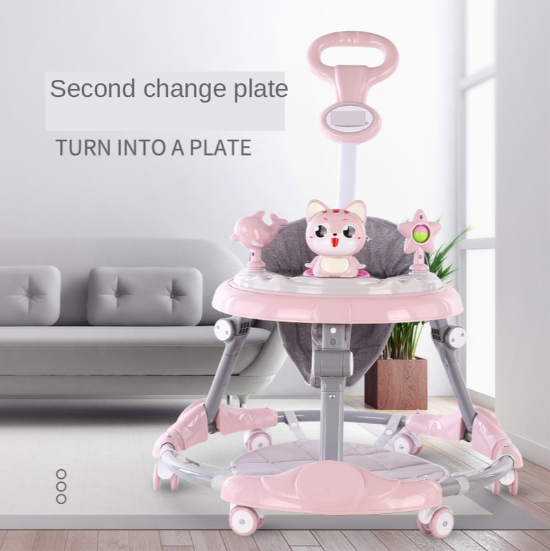 wholesale baby walker with 8 wheels anti runover multi function skating car with music toys learning walkers walking assistant New Baby Walker 6-speed Adjustment Multi-function Anti-rollover Anti-O Leg Male and Female Baby Walker  Baby Walker with Wheels