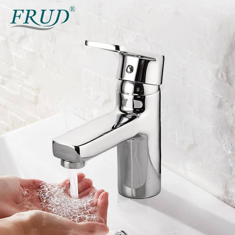 Grifo FRUD para lavabo, grifo para lavabo de baño de un solo Mango, grifo de agua caliente y fría para montaje en cubierta de cascada para Baño