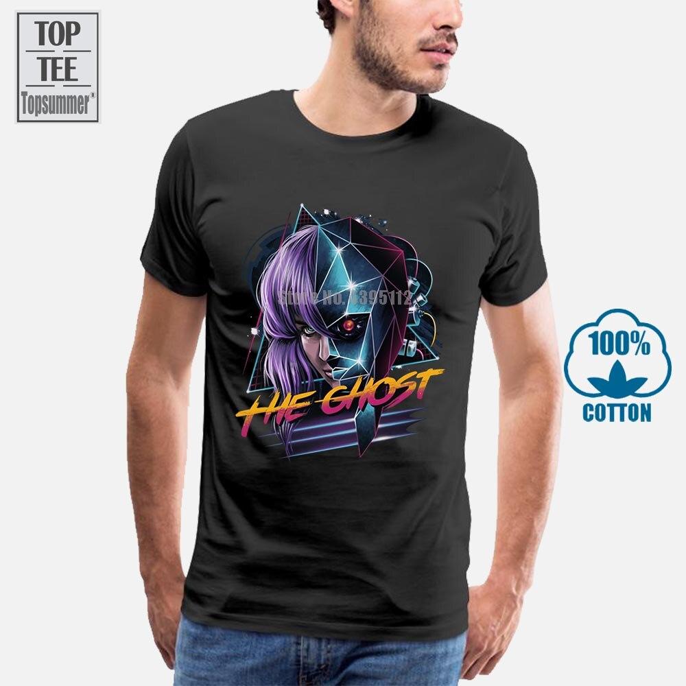 Camisetas de verano de Vaporwave, Camiseta con cuello redondo de manga corta, Camiseta de algodón Cyber Ghost para hombres Ghost In The Shell