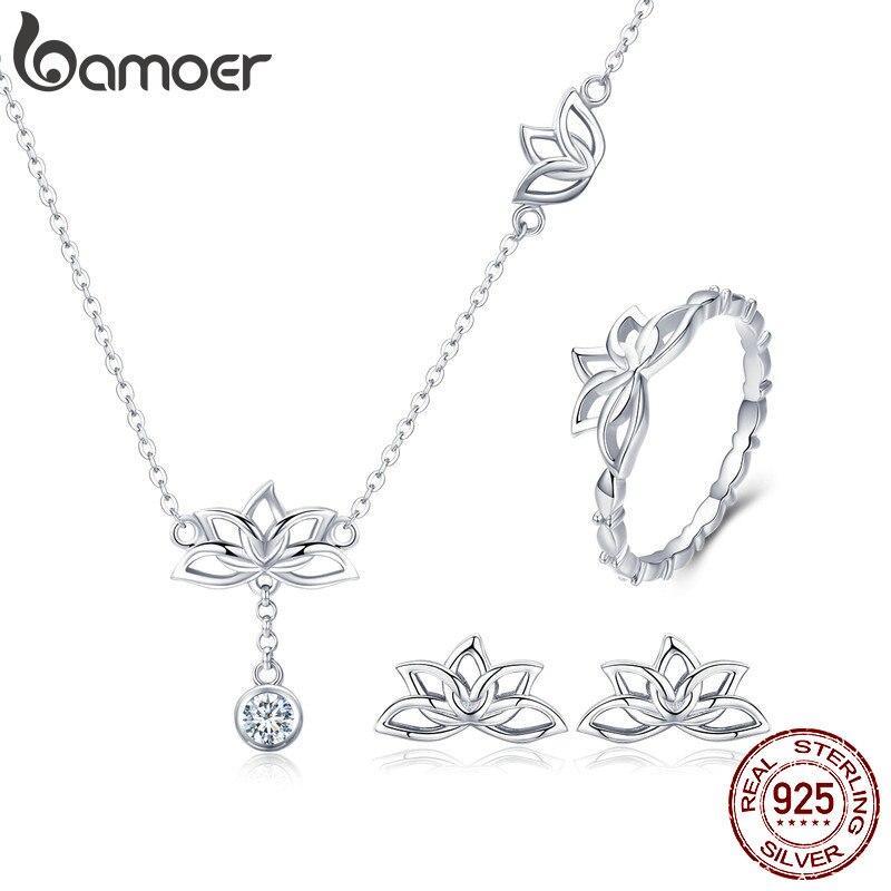 BAMOER elegante de Plata de Ley 925 loto plateado flor pendientes y collares colgante juegos de joyas para mujer regalo de joyería de plata ZHS067