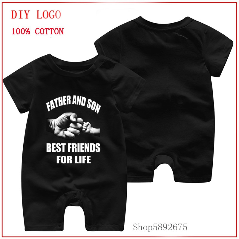 Father And Son Father's Day whitenew design 100%Pure Cotton clothes Short Sleeved new logo Jumpsuit