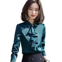chiffon shirt women 2021 new fashion satin long sleeve ruffles slim blouses office ladies professional work tops