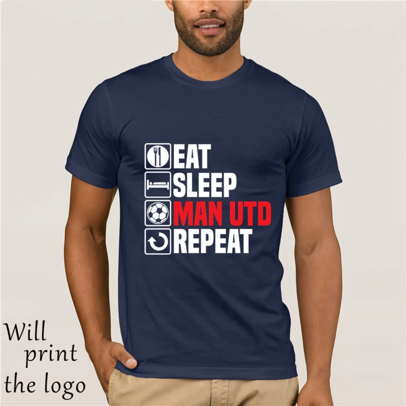 Men Designer Clothes O-Neck Style Tops Tees Eat Sleep Man Utd T Shirt Footbalerl  Fathers Day Birthday United Gift