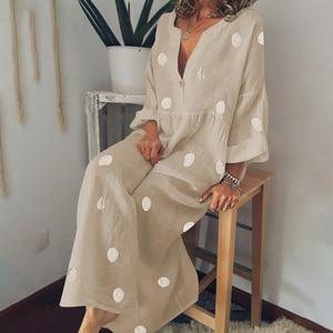 2021 V-neck Polka Dot Plus Size Dress Female Bohemian Beach Style Print Retro Elegant Loose Long Skirt