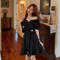 japanese hepburn skirt bow dress women french square collar balck dress 2021 fashion korean style short sleeve dresses summer