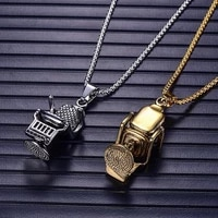 new retro barbershop chair shape pendant necklace for men fashion metal sliding pendant chains punk accessories jewelry gifts