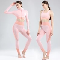 2020 new running hip lifting sports tights jacquard stretch long sleeve fitness suit seamless yoga suit vest suit sexy slim bra
